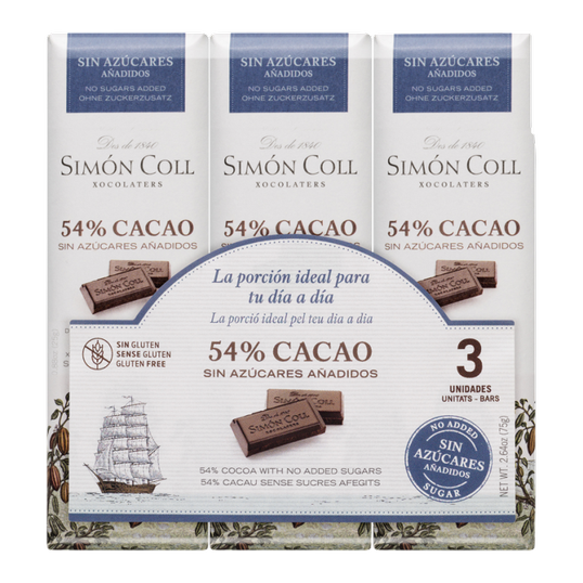 Chocolate 54% cocoa with no added sugar pack 3u x25g