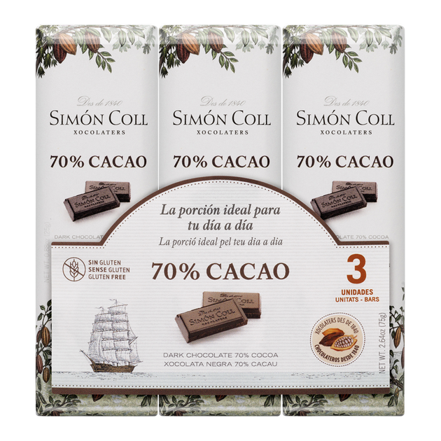 Chocolate 70% cocoa pack 3ux25g