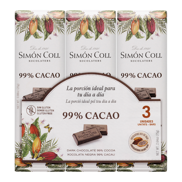 Chocolate 99% cocoa pack 3ux25g