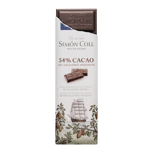 Chocolate 54% cocoa with no added sugar 25g