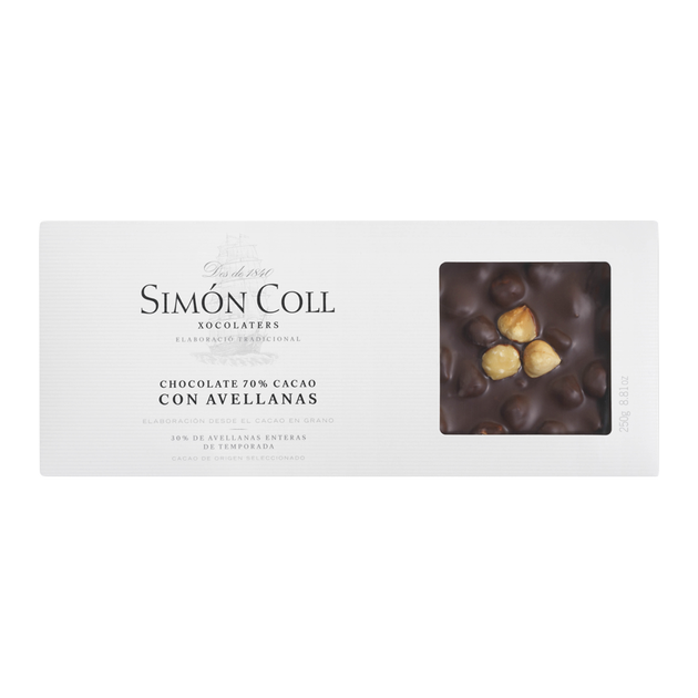 Turron Chocolate 70% cocoa with whole hazelnuts 250g