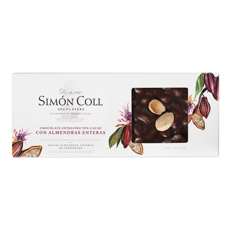Turron Chocolate 70% cocoa with whole almonds 250g