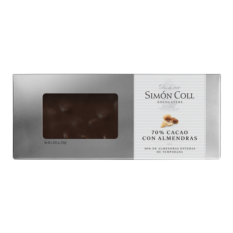 Turron 70% cocoa chocolate with whole almonds 250g