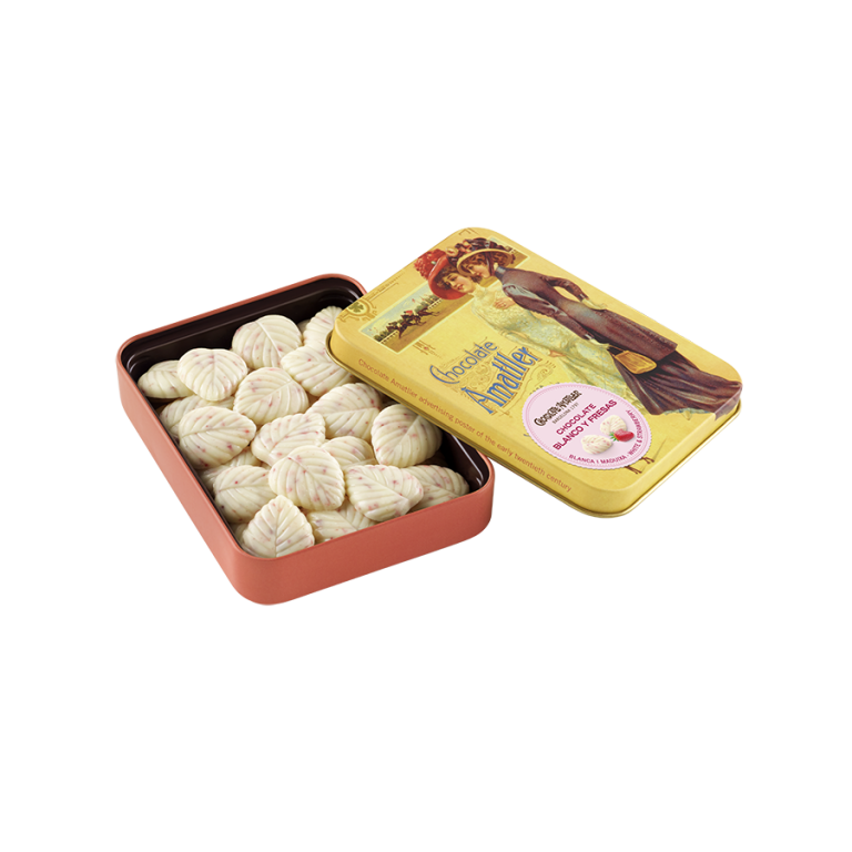 White chocolate and strawberry leaves tin 60g