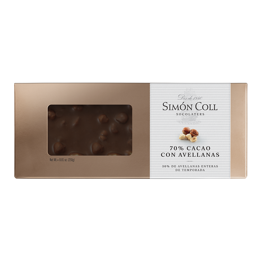 Turrón 70% cocoa chocolate with whole hazelnuts 250g